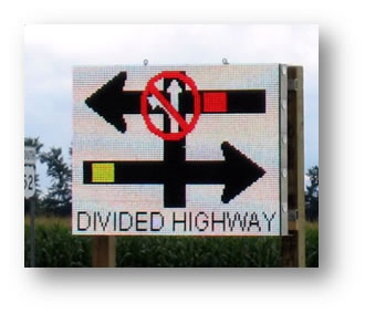 Divided highway sign.